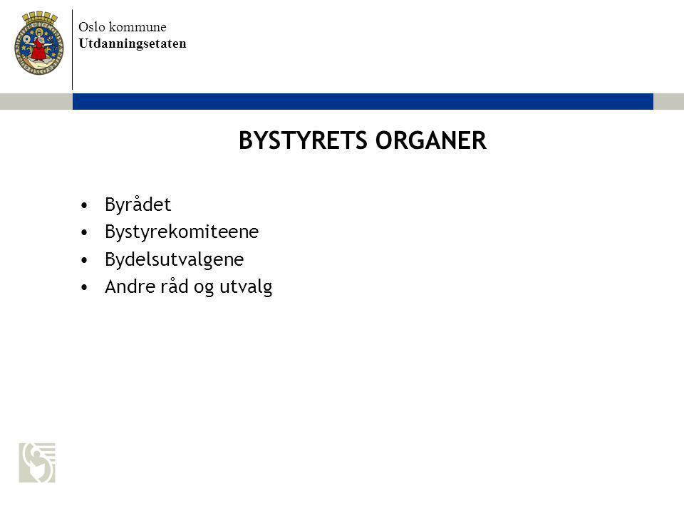 Oslo kommune Utdanningsetaten BYSTYRETS ORGANER Byrådet Bystyrekomiteene Bydelsutvalgene Andre råd og utvalg