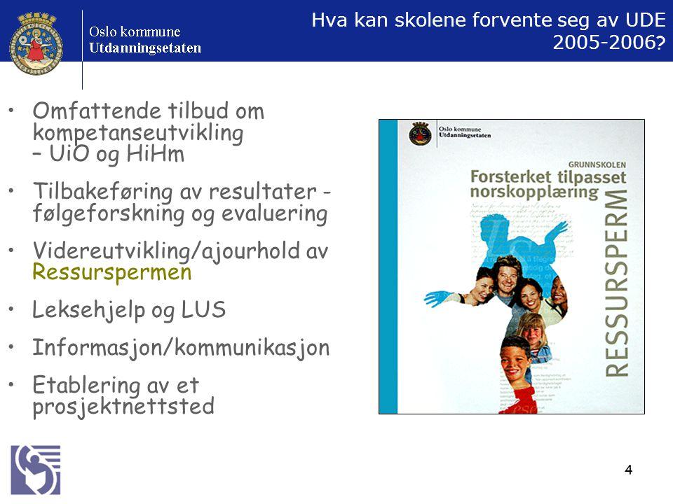 4 Hva kan skolene forvente seg av UDE 2005-2006 ? Omfattende tilbud om kompetanseutvikling – UiO og HiHm Tilbakeføring av resultater - følgeforskning