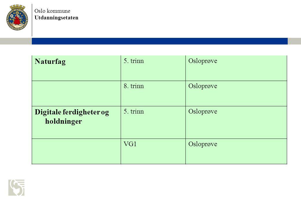 Oslo kommune Utdanningsetaten Naturfag 5. trinnOsloprøve 8.