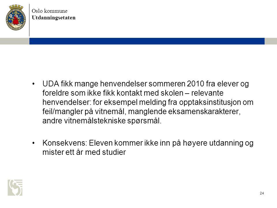Oslo kommune Utdanningsetaten 24 UDA fikk mange henvendelser sommeren 2010 fra elever og foreldre som ikke fikk kontakt med skolen – relevante henvend