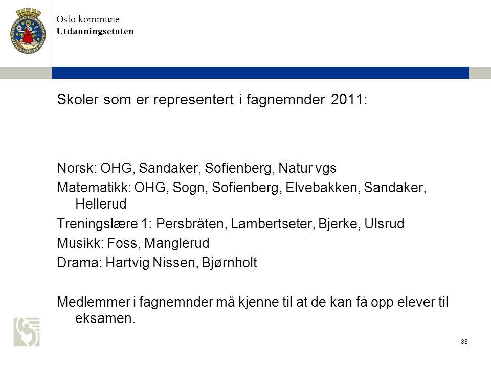Oslo kommune Utdanningsetaten 88 Skoler som er representert i fagnemnder 2011: Norsk: OHG, Sandaker, Sofienberg, Natur vgs Matematikk: OHG, Sogn, Sofi