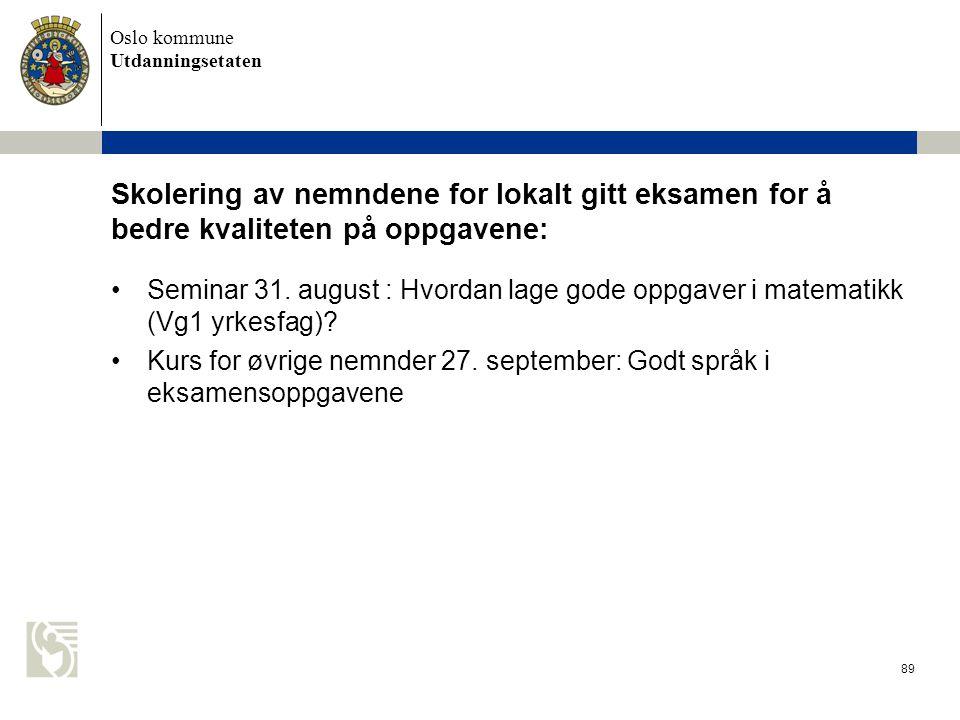 Oslo kommune Utdanningsetaten 89 Skolering av nemndene for lokalt gitt eksamen for å bedre kvaliteten på oppgavene: Seminar 31. august : Hvordan lage