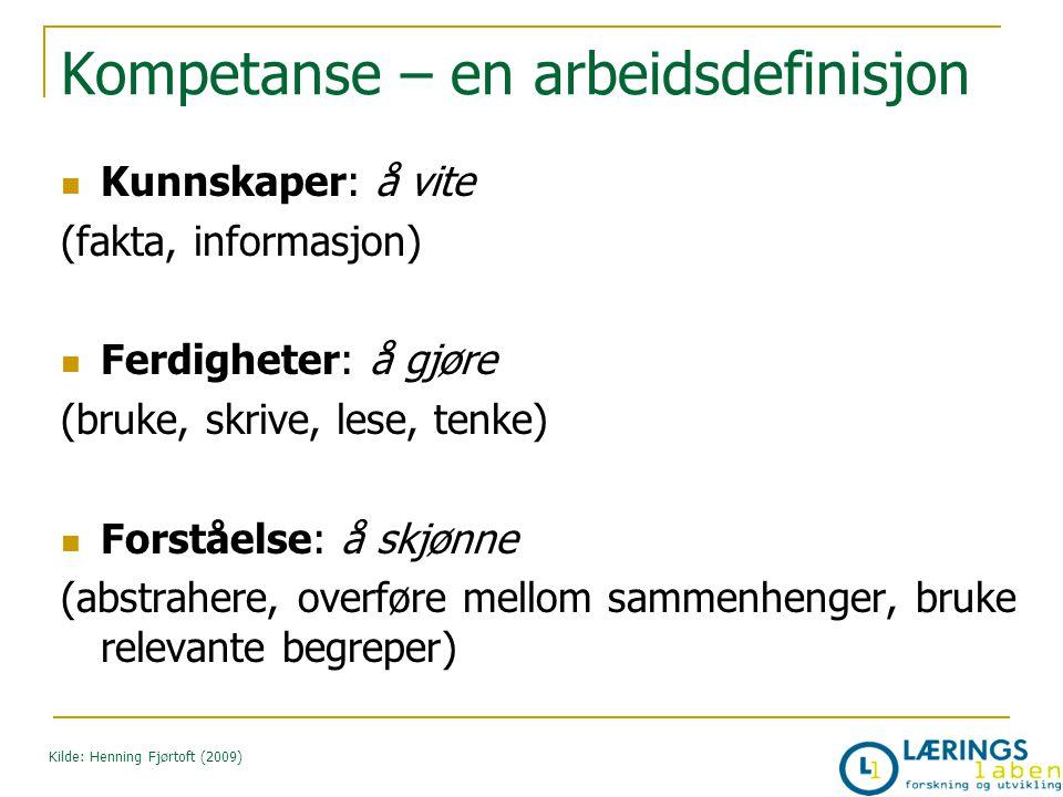 Kompetanse – en arbeidsdefinisjon Kunnskaper: å vite (fakta, informasjon) Ferdigheter: å gjøre (bruke, skrive, lese, tenke) Forståelse: å skjønne (abs