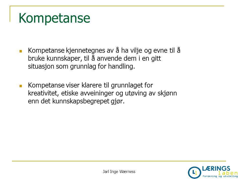 Kompetanse Kompetanse kjennetegnes av å ha vilje og evne til å bruke kunnskaper, til å anvende dem i en gitt situasjon som grunnlag for handling. Komp