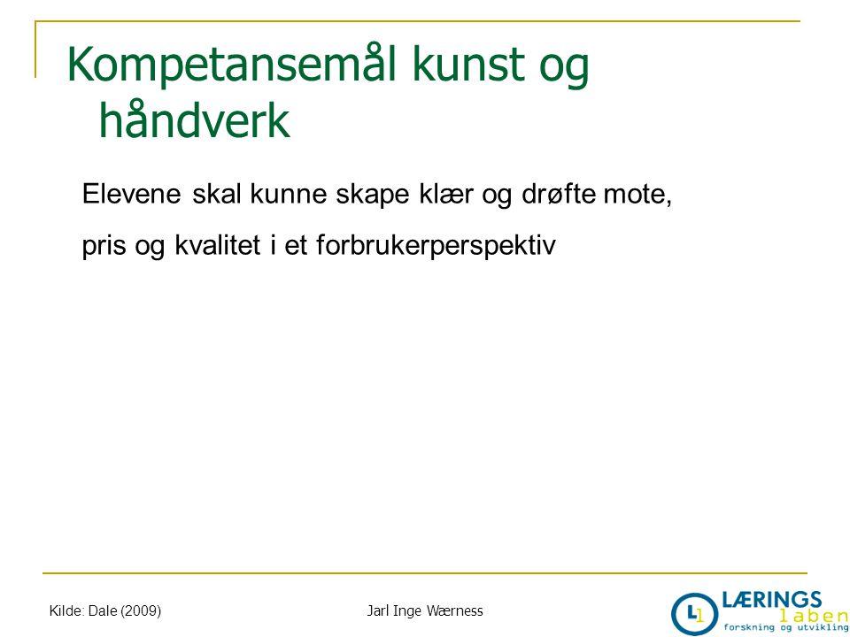 Kompetansemål kunst og håndverk Kilde: Dale (2009) Elevene skal kunne skape klær og drøfte mote, pris og kvalitet i et forbrukerperspektiv Jarl Inge W
