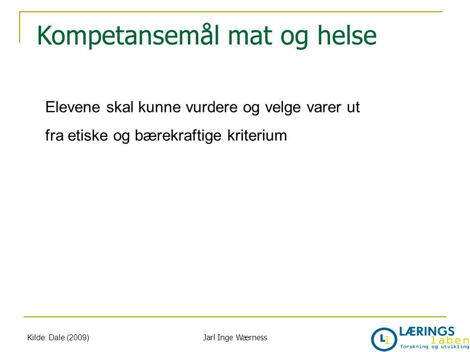 Kompetansemål mat og helse Kilde: Dale (2009) Elevene skal kunne vurdere og velge varer ut fra etiske og bærekraftige kriterium Jarl Inge Wærness