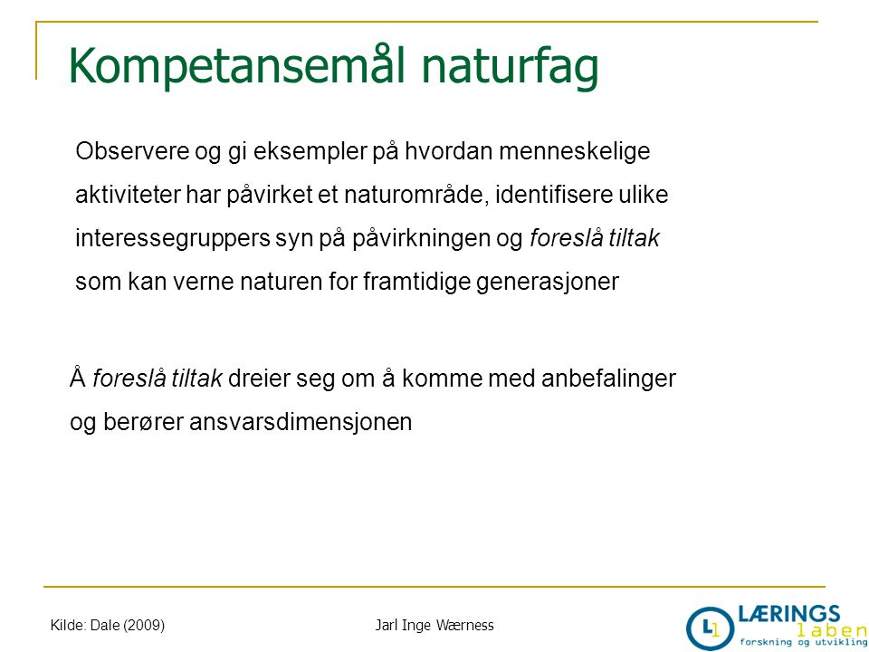 Kompetansemål naturfag Kilde: Dale (2009) Observere og gi eksempler på hvordan menneskelige aktiviteter har påvirket et naturområde, identifisere ulik