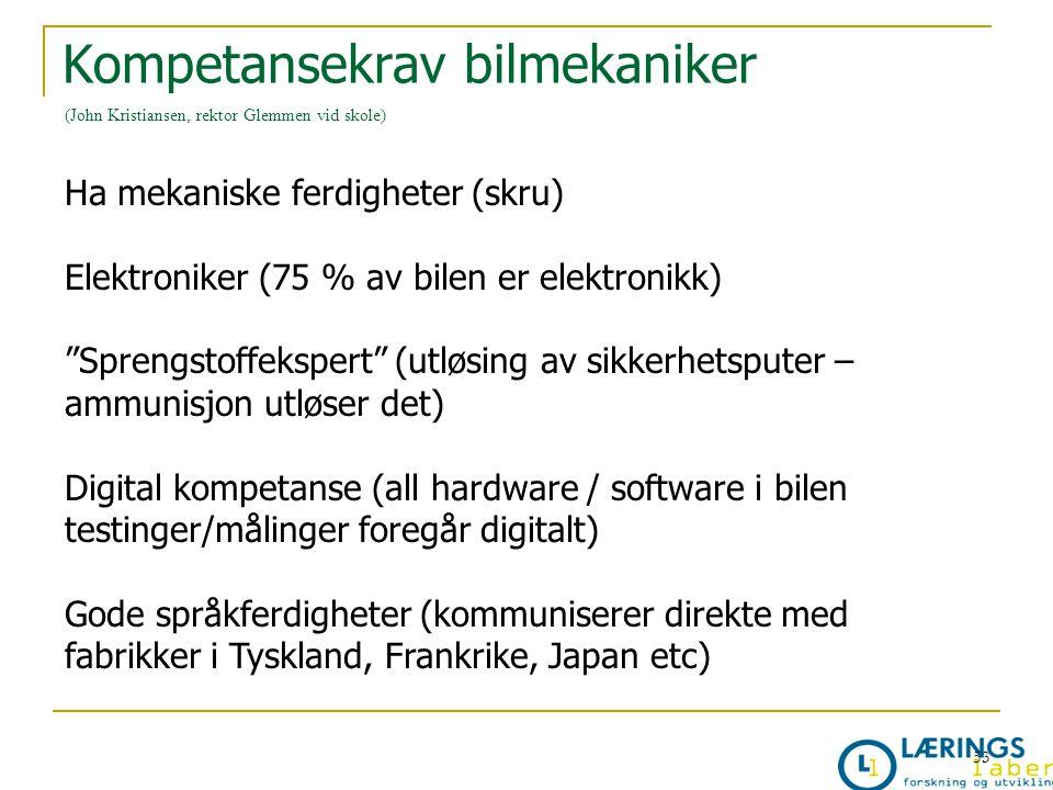 """Kompetansekrav bilmekaniker (John Kristiansen, rektor Glemmen vid skole) Ha mekaniske ferdigheter (skru) Elektroniker (75 % av bilen er elektronikk) """""""