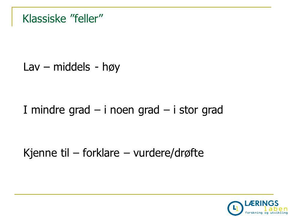 """Klassiske """"feller"""" Lav – middels - høy I mindre grad – i noen grad – i stor grad Kjenne til – forklare – vurdere/drøfte"""