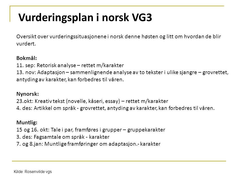 Oversikt over vurderingssituasjonene i norsk denne høsten og litt om hvordan de blir vurdert. Bokmål: 11. sep: Retorisk analyse – rettet m/karakter 13