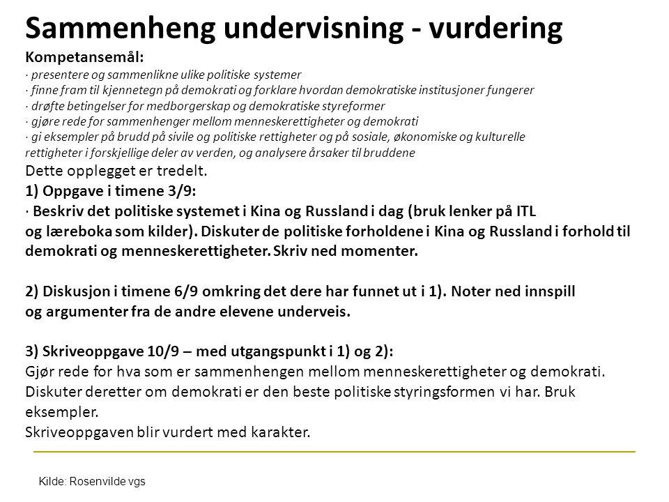 Sammenheng undervisning - vurdering Kompetansemål: · presentere og sammenlikne ulike politiske systemer · finne fram til kjennetegn på demokrati og fo