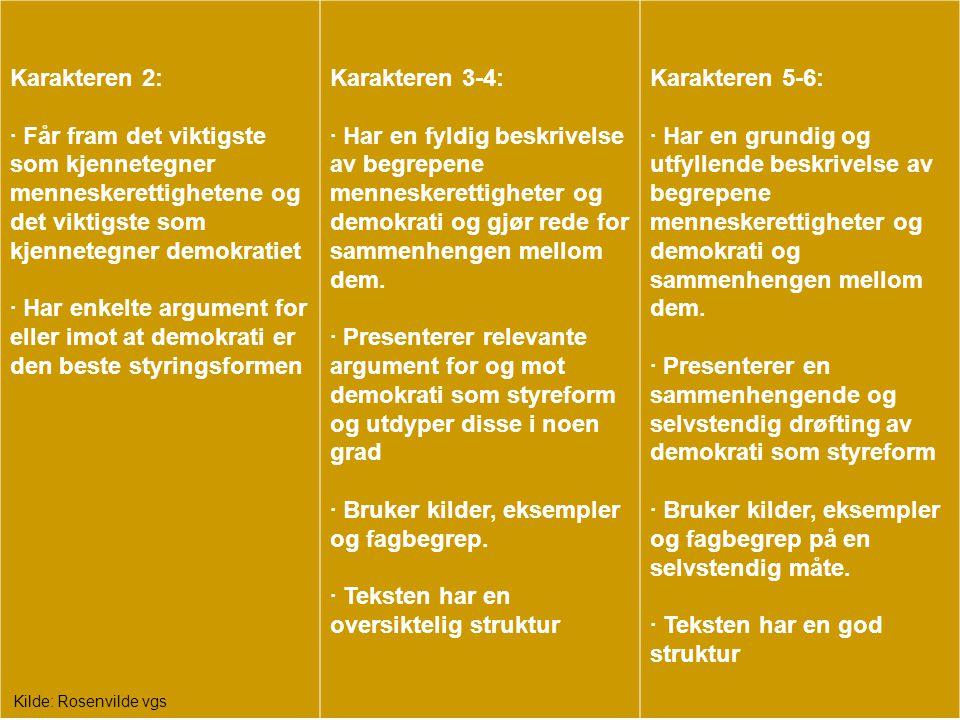 Karakteren 2: · Får fram det viktigste som kjennetegner menneskerettighetene og det viktigste som kjennetegner demokratiet · Har enkelte argument for