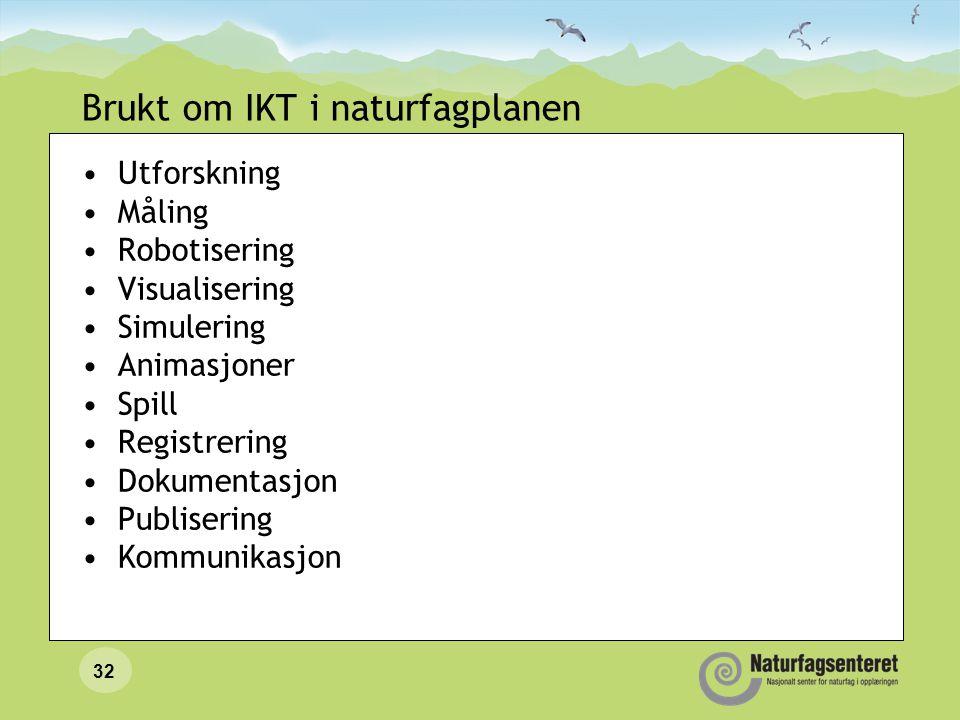 32 Brukt om IKT i naturfagplanen Utforskning Måling Robotisering Visualisering Simulering Animasjoner Spill Registrering Dokumentasjon Publisering Kom