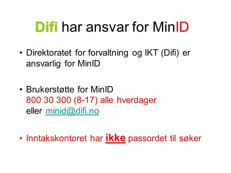 Difi Difi har ansvar for MinID Direktoratet for forvaltning og IKT (Difi) er ansvarlig for MinID Brukerstøtte for MinID 800 30 300 (8-17) alle hverdag