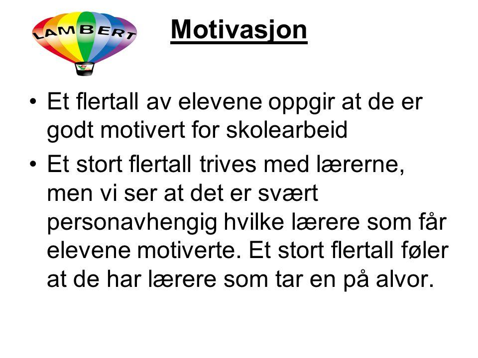 Motivasjon Et flertall av elevene oppgir at de er godt motivert for skolearbeid Et stort flertall trives med lærerne, men vi ser at det er svært perso
