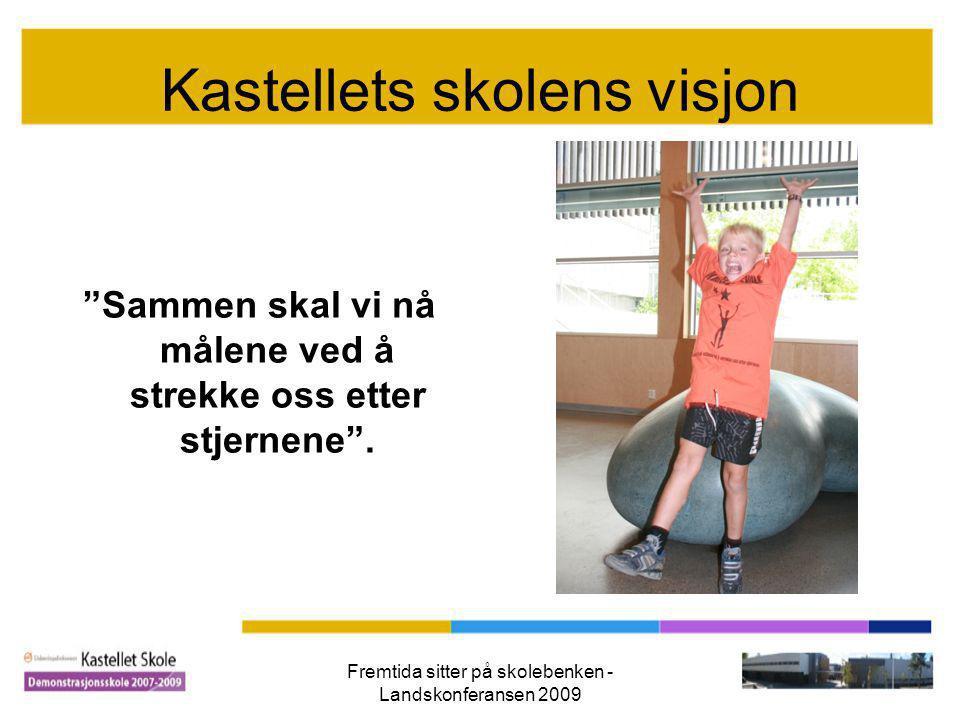 """Fremtida sitter på skolebenken - Landskonferansen 2009 Kastellets skolens visjon """"Sammen skal vi nå målene ved å strekke oss etter stjernene""""."""
