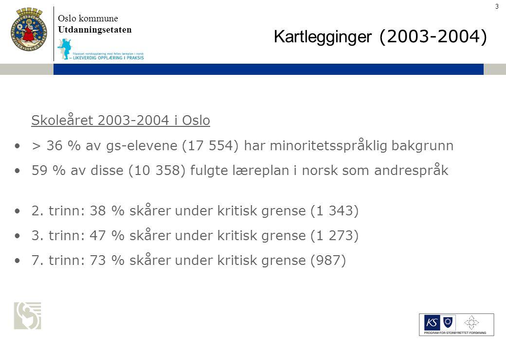 Oslo kommune Utdanningsetaten Skolens navn settes inn her Spesialundervisning (2003-2004) Minoritetsspråklige elever er generelt overrepresentert i spesialundervisning 10,5 % elever med minoritetsspråklig bakgrunn får spesialundervisning 5,5 % av majoritetselever får spesialundervisning Ved noen skoler får opp til 50 % elever med minoritets- språklig bakgrunn spesialundervisning manglende kompetanse i å skille mellom vansker knyttet til det å lære et andrespråk og spesifikke lese- og skrivevansker 4