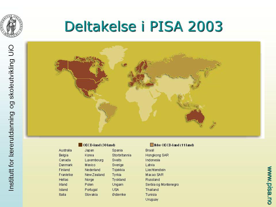 www.pisa.no Institutt for lærerutdanning og skoleutvikling UiO PISA hvert tredje år med ulike fokusfag PISA 2000: Lesing PISA 2003: Matematikk PISA 2006: Naturfag Alle tre fagene med hver gang for å kunne måle utvikling over tid I PISA 2003 er det også et område som kalles problemløsing