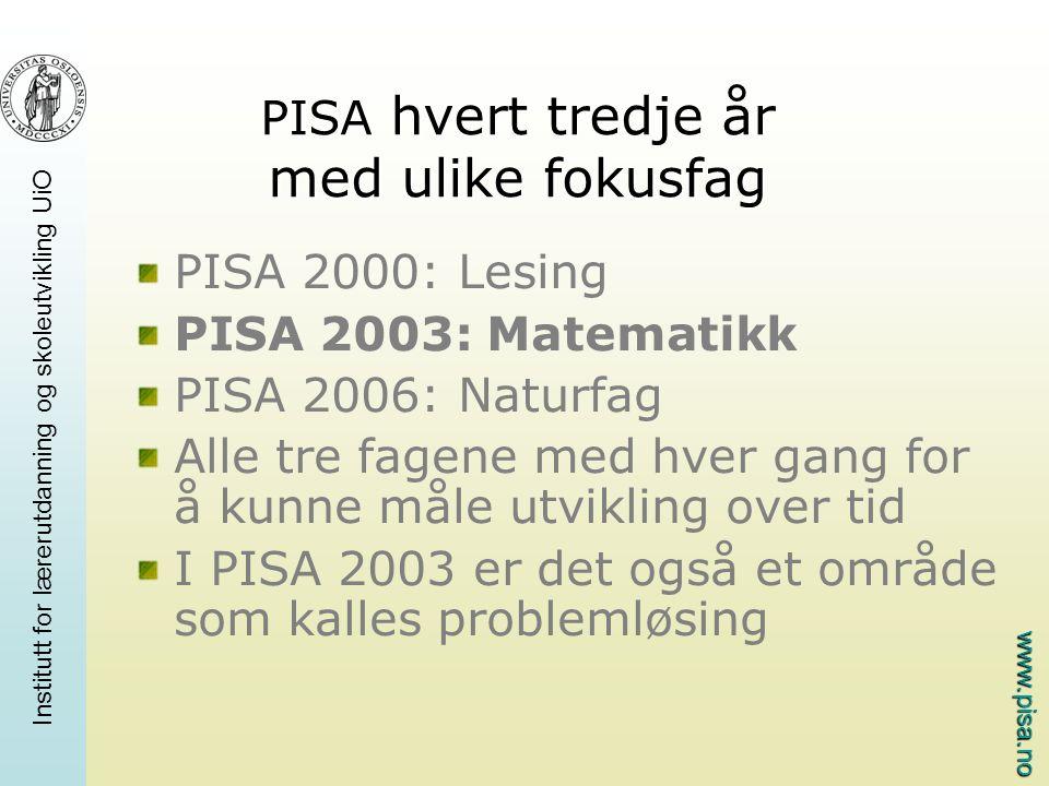 www.pisa.no Institutt for lærerutdanning og skoleutvikling UiO