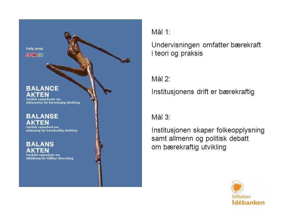 Mål 1: Undervisningen omfatter bærekraft i teori og praksis Mål 2: Institusjonens drift er bærekraftig Mål 3: Institusjonen skaper folkeopplysning sam