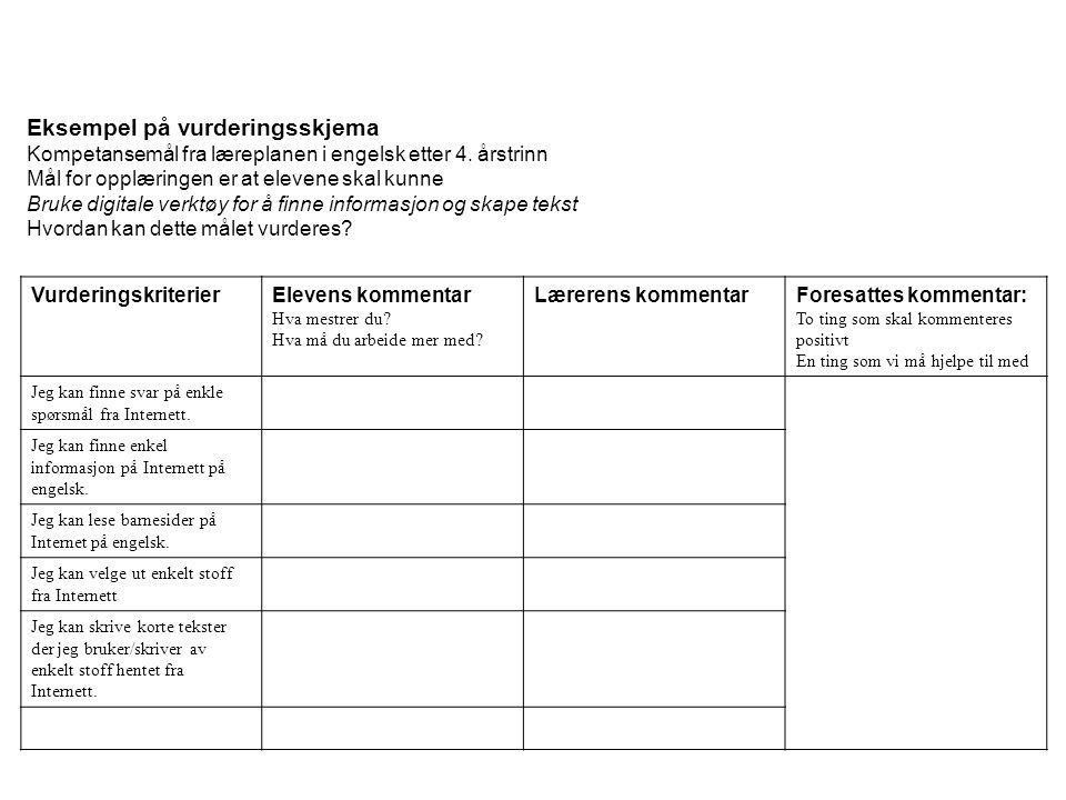 Eksempel på vurderingsskjema Kompetansemål fra læreplanen i engelsk etter 4. årstrinn Mål for opplæringen er at elevene skal kunne Bruke digitale verk