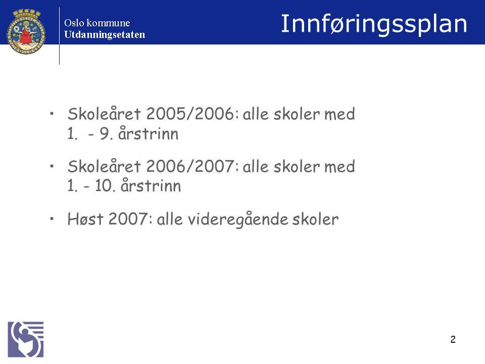 2 Innføringssplan Skoleåret 2005/2006: alle skoler med 1.