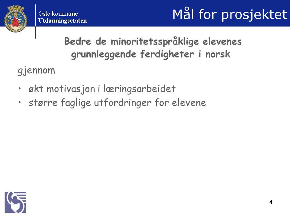 4 Mål for prosjektet Bedre de minoritetsspråklige elevenes grunnleggende ferdigheter i norsk gjennom økt motivasjon i læringsarbeidet større faglige utfordringer for elevene