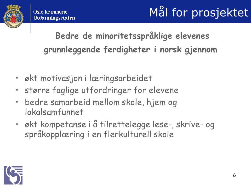 6 Mål for prosjektet Bedre de minoritetsspråklige elevenes grunnleggende ferdigheter i norsk gjennom økt motivasjon i læringsarbeidet større faglige utfordringer for elevene bedre samarbeid mellom skole, hjem og lokalsamfunnet økt kompetanse i å tilrettelegge lese-, skrive- og språkopplæring i en flerkulturell skole
