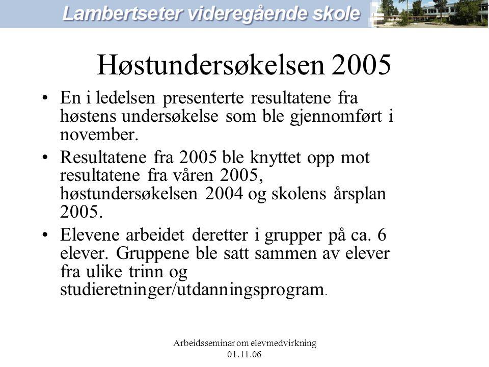Arbeidsseminar om elevmedvirkning 01.11.06 Høstundersøkelsen 2005 En i ledelsen presenterte resultatene fra høstens undersøkelse som ble gjennomført i november.