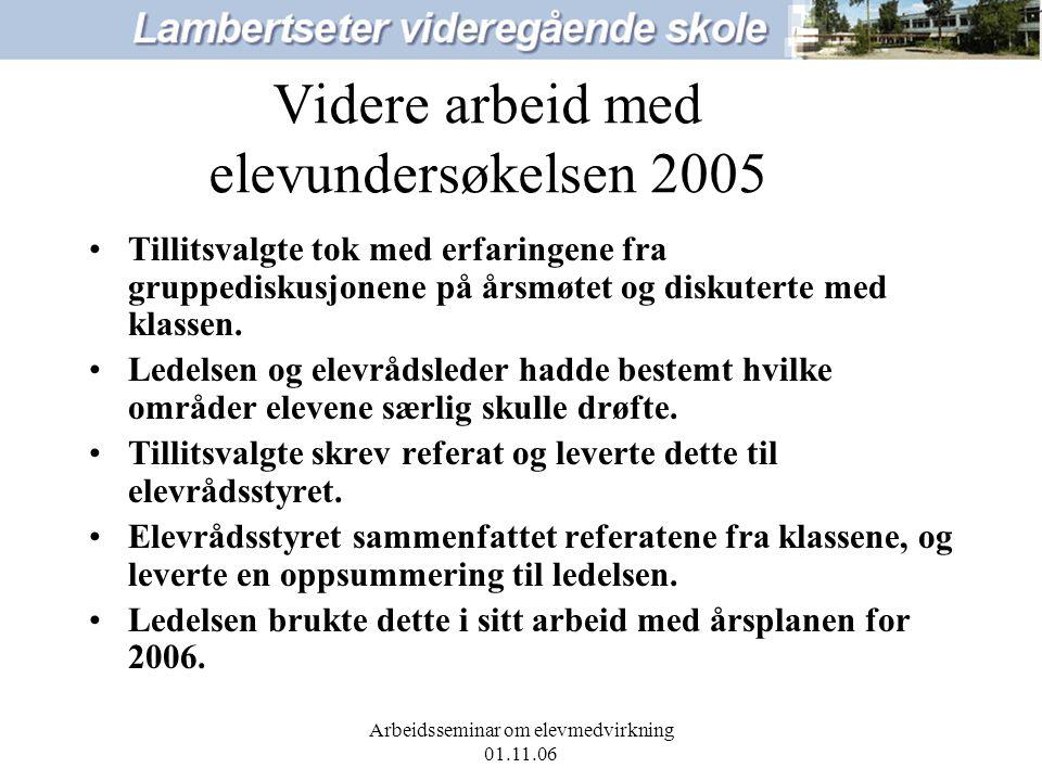 Arbeidsseminar om elevmedvirkning 01.11.06 Videre arbeid med elevundersøkelsen 2005 Tillitsvalgte tok med erfaringene fra gruppediskusjonene på årsmøtet og diskuterte med klassen.