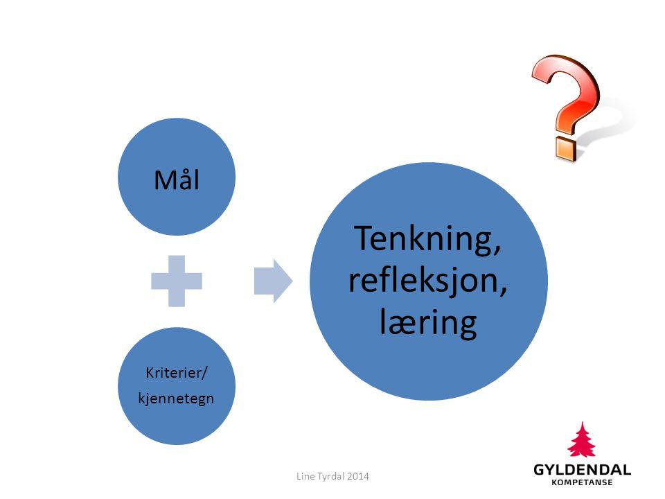 Mål Kriterier/ kjennetegn Tenkning, refleksjon, læring Line Tyrdal 2014