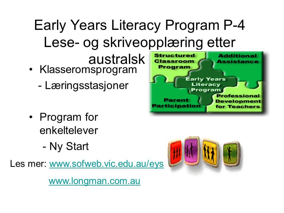 Early Years Literacy Program P-4 Lese- og skriveopplæring etter australsk modell Klasseromsprogram - Læringsstasjoner Program for enkeltelever - Ny Start Les mer: www.sofweb.vic.edu.au/eyswww.sofweb.vic.edu.au/eys www.longman.com.au