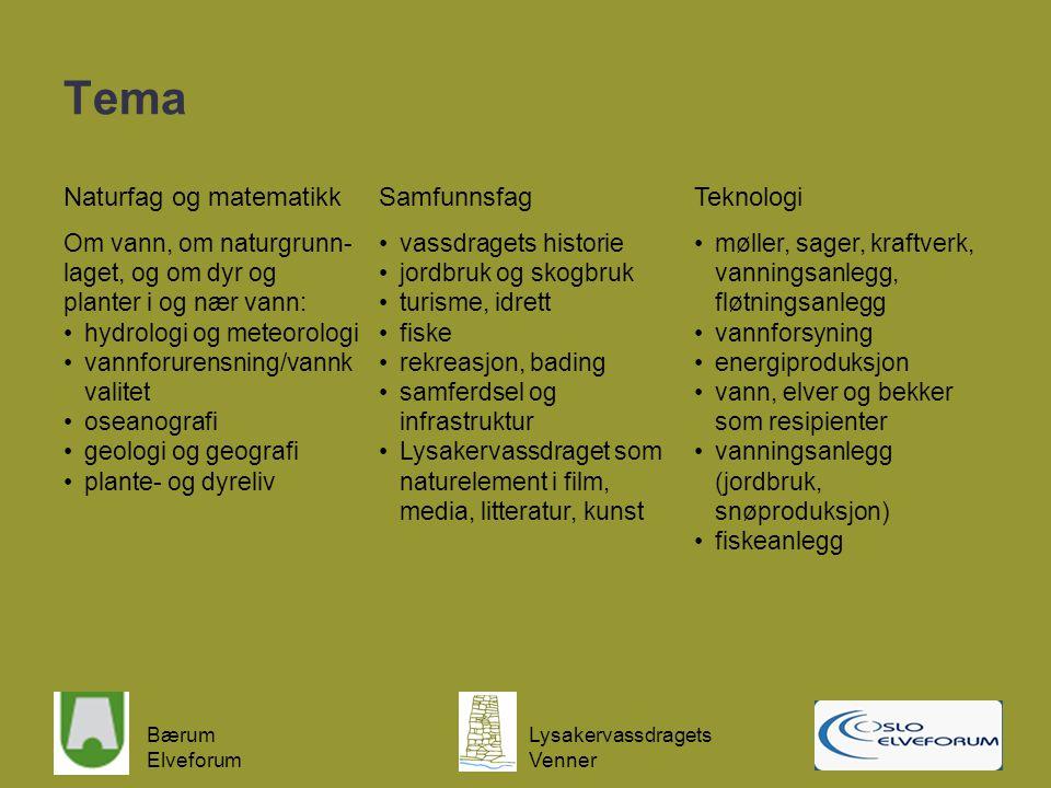 Bærum Elveforum Lysakervassdragets Venner Tema Naturfag og matematikkSamfunnsfagTeknologi Om vann, om naturgrunn- laget, og om dyr og planter i og nær