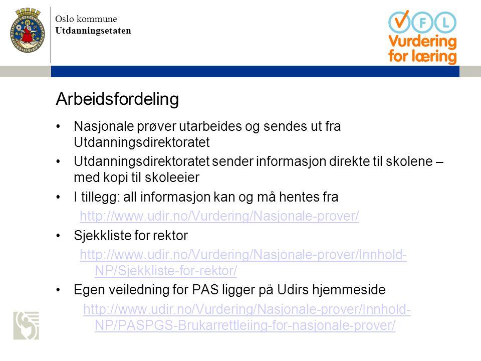 Oslo kommune Utdanningsetaten Arbeidsfordeling Nasjonale prøver utarbeides og sendes ut fra Utdanningsdirektoratet Utdanningsdirektoratet sender infor