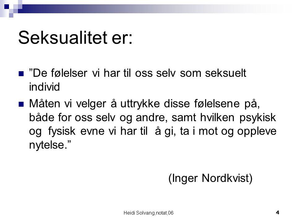 Heidi Solvang,notat,0615 12 – 18 år: Pubertetsfasen Sikkerhet/integrert personlighet Usikkerhet/ikke integrert personlighet Egen livsstilMedløper og uselvstendig livsstil