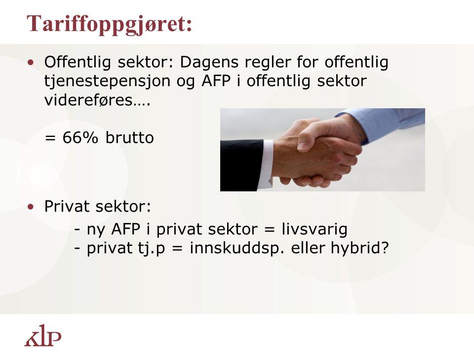 Tariffoppgjøret: Offentlig sektor: Dagens regler for offentlig tjenestepensjon og AFP i offentlig sektor videreføres…. = 66% brutto Privat sektor: - n