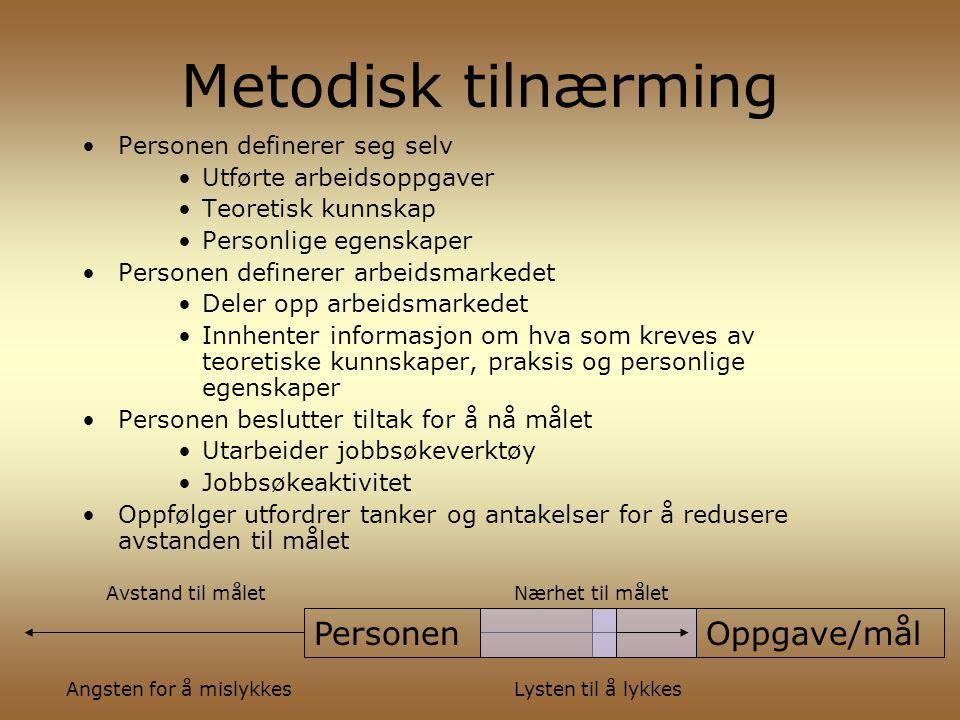 Metodisk tilnærming Personen definerer seg selv Utførte arbeidsoppgaver Teoretisk kunnskap Personlige egenskaper Personen definerer arbeidsmarkedet De