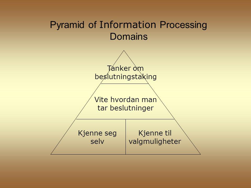 Pyramid of Information Processing Domains Kjenne seg selv Kjenne til valgmuligheter Vite hvordan man tar beslutninger Tanker om beslutningstaking