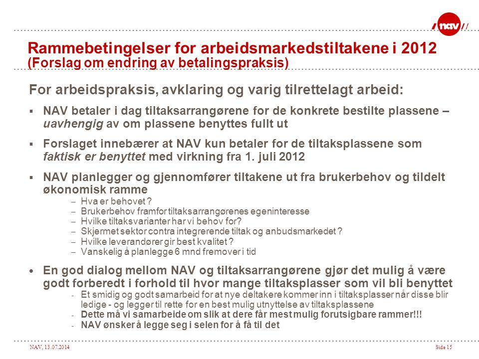 NAV, 13.07.2014Side 15 Rammebetingelser for arbeidsmarkedstiltakene i 2012 (Forslag om endring av betalingspraksis) For arbeidspraksis, avklaring og v
