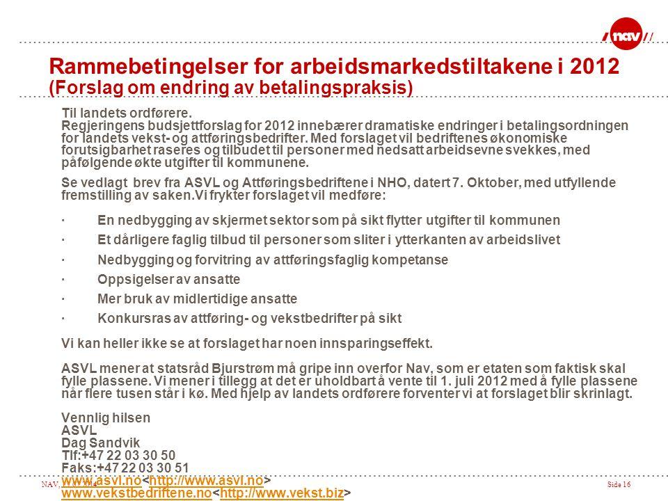NAV, 13.07.2014Side 16 Til landets ordførere. Regjeringens budsjettforslag for 2012 innebærer dramatiske endringer i betalingsordningen for landets ve
