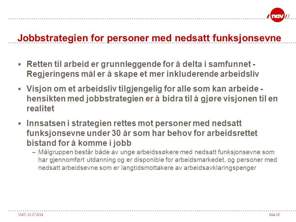 NAV, 13.07.2014Side 18 Jobbstrategien for personer med nedsatt funksjonsevne  Retten til arbeid er grunnleggende for å delta i samfunnet - Regjeringe