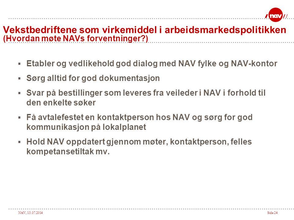 NAV, 13.07.2014Side 24  Etabler og vedlikehold god dialog med NAV fylke og NAV-kontor  Sørg alltid for god dokumentasjon  Svar på bestillinger som