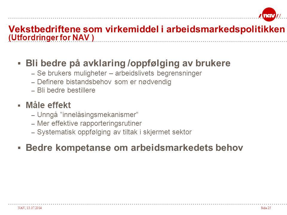 NAV, 13.07.2014Side 25 Vekstbedriftene som virkemiddel i arbeidsmarkedspolitikken (Utfordringer for NAV )  Bli bedre på avklaring /oppfølging av bruk