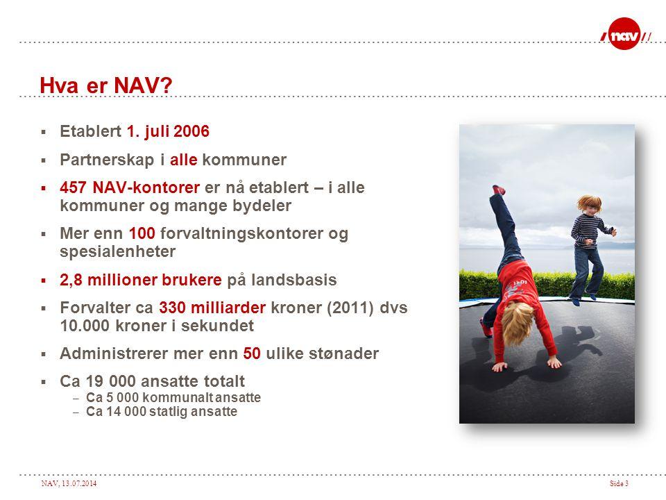 NAV, 13.07.2014Side 4 Hva er NAV.