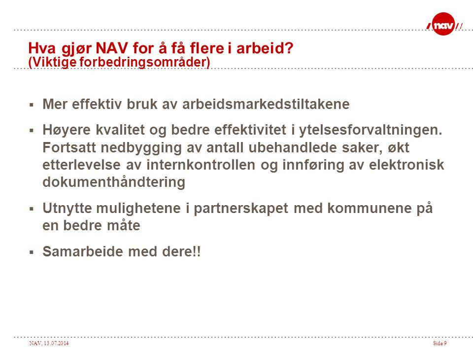 NAV, 13.07.2014Side 9 Hva gjør NAV for å få flere i arbeid? (Viktige forbedringsområder)  Mer effektiv bruk av arbeidsmarkedstiltakene  Høyere kvali