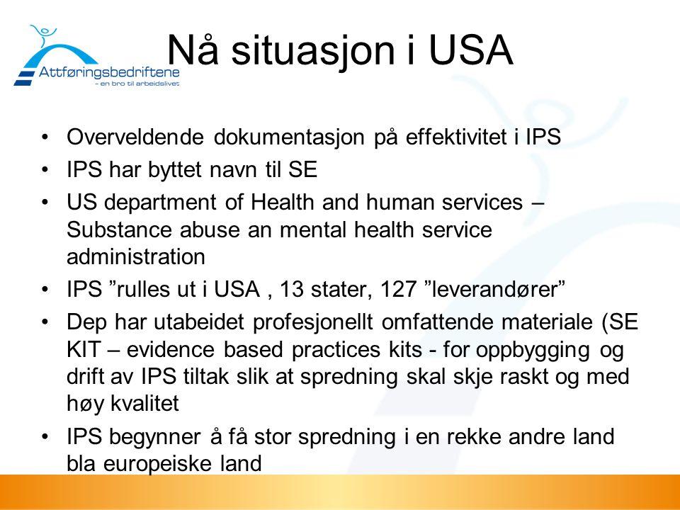 Nå situasjon i USA Overveldende dokumentasjon på effektivitet i IPS IPS har byttet navn til SE US department of Health and human services – Substance