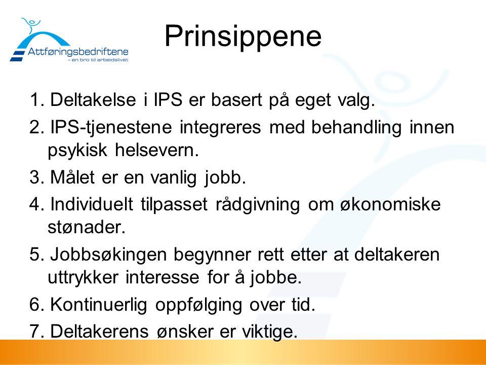 Prinsippene 1. Deltakelse i IPS er basert på eget valg. 2. IPS-tjenestene integreres med behandling innen psykisk helsevern. 3. Målet er en vanlig job