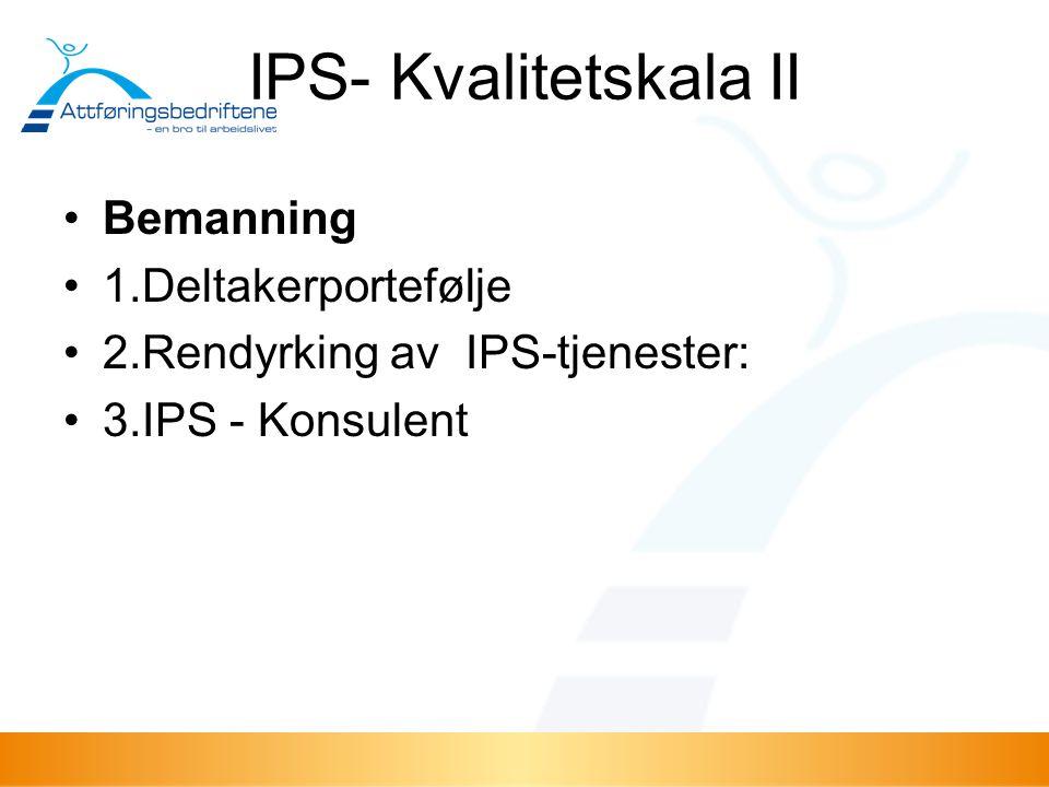 IPS- Kvalitetskala II Bemanning 1.Deltakerportefølje 2.Rendyrking av IPS-tjenester: 3.IPS - Konsulent