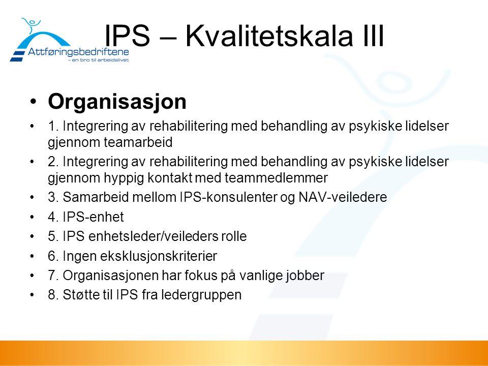 IPS – Kvalitetskala III Organisasjon 1. Integrering av rehabilitering med behandling av psykiske lidelser gjennom teamarbeid 2. Integrering av rehabil