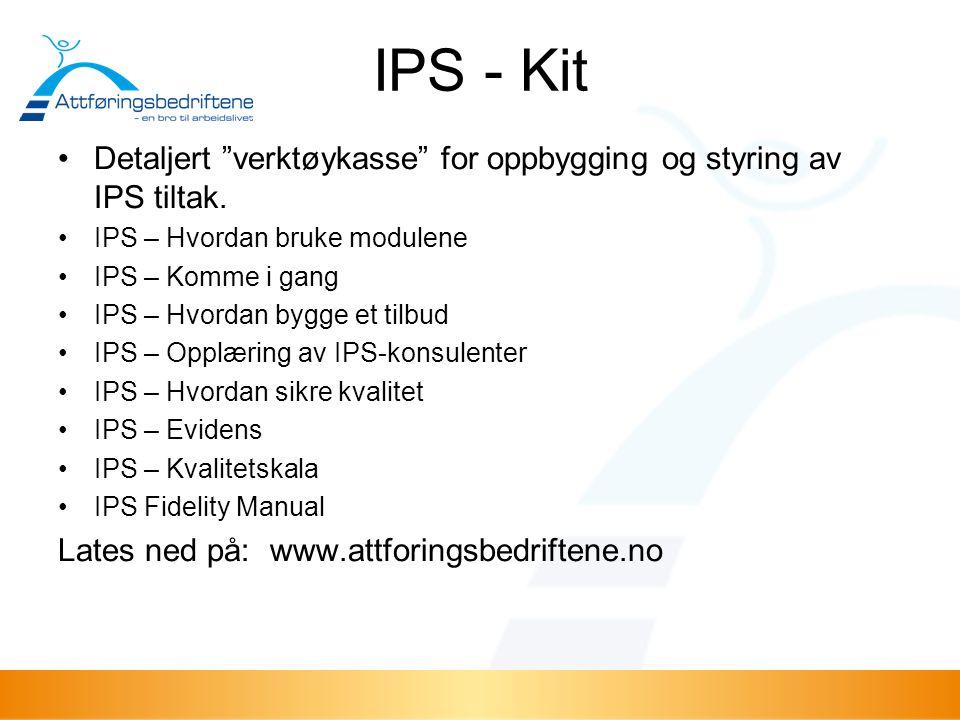 """IPS - Kit Detaljert """"verktøykasse"""" for oppbygging og styring av IPS tiltak. IPS – Hvordan bruke modulene IPS – Komme i gang IPS – Hvordan bygge et til"""